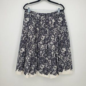 White House Black Market Floral Lace Pleated Skirt